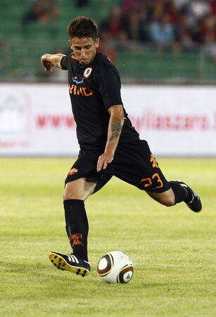 vasas: BUDAPEST - AUGUST 3: Leandro Greco of Roma during Vasas vs. AS Roma (0:1) friendly game at Puskas Stadium on August 3, 2011 in Budapest, Hungary. Editorial