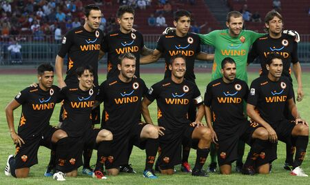 BUDAPEST - AUGUST 3: Team of Roma during Vasas vs. AS Roma (0:1) friendly game at Puskas Stadium on August 3, 2011 in Budapest, Hungary.