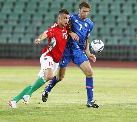 puskas: BUDAPEST - AUGUST 10: Hungarian Priskin (L) and Icelander Hreidarsson during Hungary vs. Iceland (4:0) friendly game at Puskas Stadium on August 10, 2011 in Budapest, Hungary. Editorial