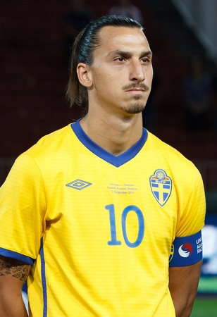 BUDAPEST - SEPTEMBER 2: Swedish Zlatan Ibrahimovic before Hungary vs. Sweden (2:1) UEFA Euro 2012 qualifying game at Puskas Stadium on September 2, 2011 in Budapest, Hungary. 報道画像