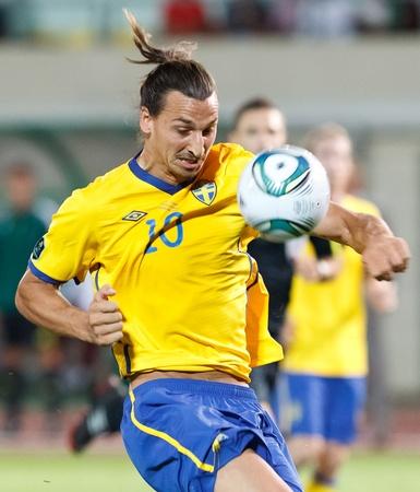 puskas: BUDAPEST - SEPTEMBER 2: Swedish Zlatan Ibrahimovic during Hungary vs. Sweden (2:1) UEFA Euro 2012 qualifying game at Puskas Stadium on September 2, 2011 in Budapest, Hungary.