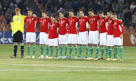 BUDAPEST - November 11: Hungarian national players are remembering on deceased Hungarian Florian Albert before Hungary vs. Liechtenstein (5:0) friendly football game at Puskas Stadium on November 11, 2011 in Budapest, Hungary.