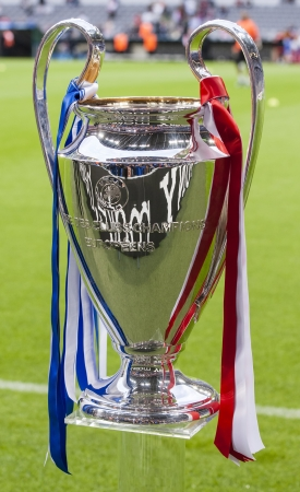 MUNICH, May 19 - The Champions League Cup before FC Bayern Munich vs. Chelsea FC UEFA Champions League Final game at Allianz Arena on May 19, 2012 in Munich, Germany.