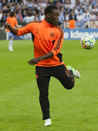 bayern: MUNICH, May 19 - Michael Essien of Chelsea before FC Bayern Munich vs. Chelsea FC UEFA Champions League Final game at Allianz Arena on May 19, 2012 in Munich, Germany.