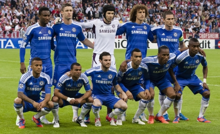 MUNICH, May 19 - Team of Chelsea:  before FC Bayern Munich vs. Chelsea FC UEFA Champions League Final game at Allianz Arena on May 19, 2012 in Munich, Germany.