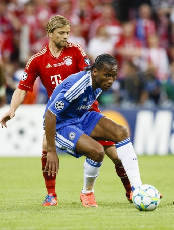 MUNICH, May 19 - Drogba (R) of Chelsea and of Bayern during FC Bayern Munich vs. Chelsea FC UEFA Champions League Final game at Allianz Arena on May 19, 2012 in Munich, Germany.