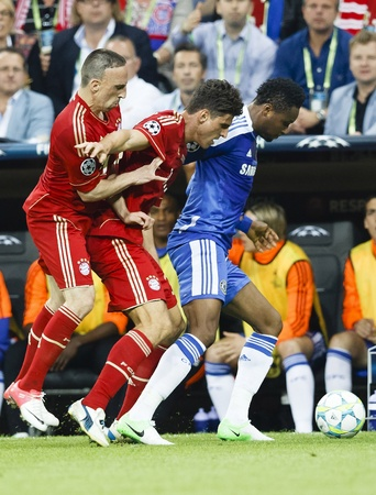 MUNICH, May 19 - Mikel of Chelsea (L), Gomez (M) and Ribery (L) of Bayern during FC Bayern Munich vs. Chelsea FC UEFA Champions League Final game at Allianz Arena on May 19, 2012 in Munich, Germany.