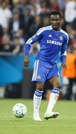 MUNICH, May 19 - John Obi Mikel of Chelsea during FC Bayern Munich vs. Chelsea FC UEFA Champions League Final game at Allianz Arena on May 19, 2012 in Munich, Germany. Editorial