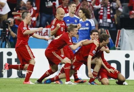 MUNICH, May 19 -  of Bayern celebrate (Cahill, Luiz of Chelsea are behind) during FC Bayern Munich vs. Chelsea FC UEFA Champions League Final game at Allianz Arena on May 19, 2012 in Munich, Germany.