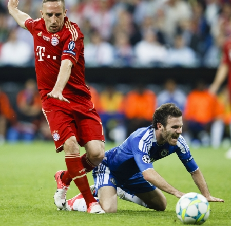 chelsea: MUNICH, May 19 - Mata of Chelsea (R) and Ribery of Bayern during FC Bayern Munich vs. Chelsea FC UEFA Champions League Final game at Allianz Arena on May 19, 2012 in Munich, Germany. Editorial