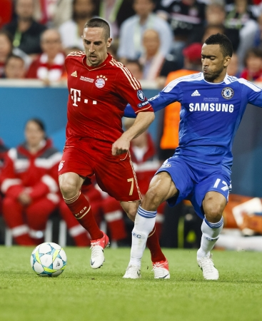 MUNICH, May 19 - Bosingwa of Chelsea (R) and Ribery of Bayern during FC Bayern Munich vs. Chelsea FC UEFA Champions League Final game at Allianz Arena on May 19, 2012 in Munich, Germany. Stock Photo - 13790513
