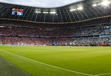 MUNICH, May 19 - The inside of Allianz Arenabefore FC Bayern Munich vs. Chelsea FC UEFA Champions League Final game at Allianz Arena on May 19, 2012 in Munich, Germany. Editöryel