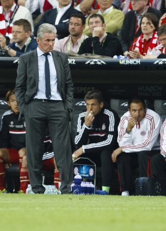 MUNICH, May 19 - The disappointed manager of FC Bayern, Jupp Heynckes during FC Bayern Munich vs. Chelsea FC UEFA Champions League Final game at Allianz Arena on May 19, 2012 in Munich, Germany.