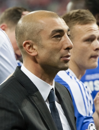 uefa: MUNICH, May 19 - Celebration of Chelseas win: Roberto di Matteo, the manager of the Blues after FC Bayern Munich vs. Chelsea FC UEFA Champions League Final game at Allianz Arena on May 19, 2012 in Munich, Germany
