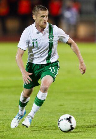 puskas: BUDAPEST, June 4 - Irish Damien Duff during Hungary vs. Ireland friendly football game at Ferenc Puskas Stadium on June 4, 2012 in Budapest, Hungary.