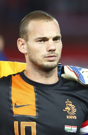 BUDAPEST - September 11: Dutch Wesley Sneijder during Hungary vs. Netherlands FIFA World Cup qualifier football game at Puskas Stadium on September 11, 2012 in Budapest, Hungary.