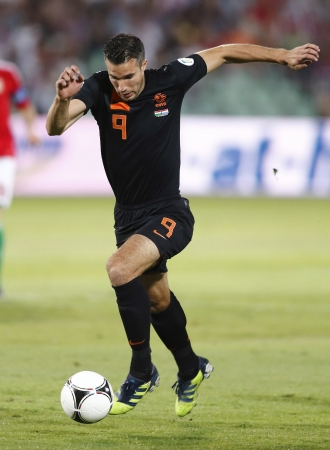 BUDAPEST - September 11: Dutch Robin van Persie during Hungary vs. Netherlands FIFA World Cup qualifier football game at Puskas Stadium on September 11, 2012 in Budapest, Hungary.