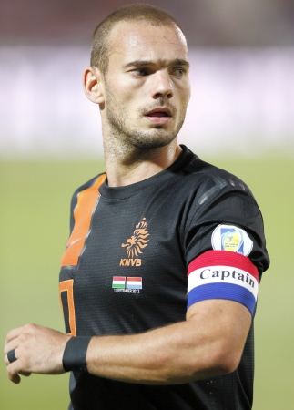 wesley: BUDAPEST - September 11: Dutch Wesley Sneijder during Hungary vs. Netherlands FIFA World Cup qualifier football game at Puskas Stadium on September 11, 2012 in Budapest, Hungary.