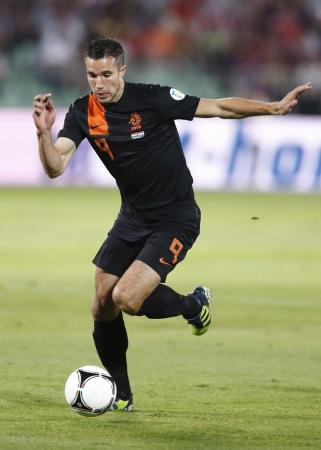 BUDAPEST - September 11: Dutch Robin van Persie during Hungary vs. Netherlands FIFA World Cup qualifier football game at Puskas Stadium on September 11, 2012 in Budapest, Hungary. 報道画像