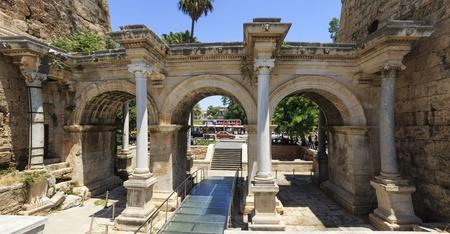The Hadrianus gate in Antalya Stock Photo