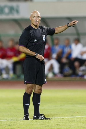 BUDAPEST - AUGUST 14: Referee Howard Webb during Hungary vs. Czech Republic football match at Puskas Stadium on August 14, 2013 in Budapest, Hungary.