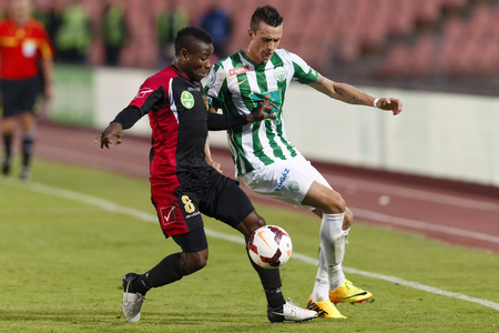puskas: BUDAPEST - OCTOBER 6: Duel between Julian Jenner of FTC (R) and Patrick Ikenne King of Honved during FTC vs. Honved OTP Bank League match at Puskas Stadium on October 6, 2013 in Budapest, Hungary.