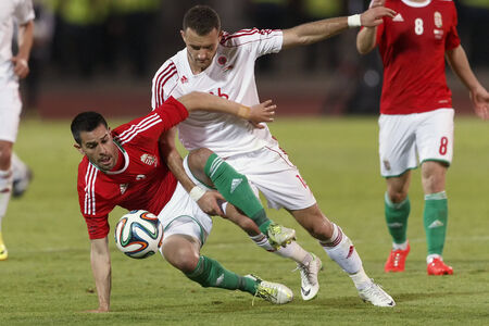 commits: BUDAPEST, HUNGARY - JUNE 4, 2014: Albanian Sokol Cikalleshi commits a foul against Hungarian Predrag Bosnjak (l) during Hungary vs. Albania friendly football match at Puskas Stadium on June 4, 2014 in Budapest, Hungary.  Editorial