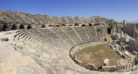 Ancient theater in Side Stock Photo