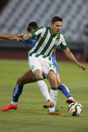 BUDAPEST, HUNGARY - JULY 24, 2014: Zoltan Gera of FTC during Ferencvarosi TC vs. HNK Rijeka UEFA EL football match at Puskas Stadium on July 24, 2014 in Budapest, Hungary.