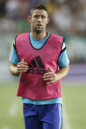 cahill: BUDAPEST, HUNGARY - AUGUST 10, 2014: Gary Cahill of Chelsea during Ferencvaros vs. Chelsea stadium opening football match at Groupama Arena on August 10, 2014 in Budapest, Hungary.