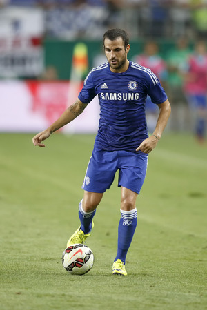 fabregas: BUDAPEST, HUNGARY - AUGUST 10, 2014: Cesc Fabregas of Chelsea during Ferencvaros vs. Chelsea stadium opening football match at Groupama Arena on August 10, 2014 in Budapest, Hungary.