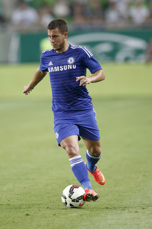 chelsea: BUDAPEST, HUNGARY - AUGUST 10, 2014: Eden Hazard of Chelsea during Ferencvaros vs. Chelsea stadium opening football match at Groupama Arena on August 10, 2014 in Budapest, Hungary.