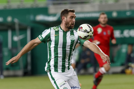 bode: BUDAPEST, HUNGARY - AUGUST 27, 2014: Daniel Bode of FTC during Ferencvaros vs. Dunaujvaros OTP Bank League football match at Groupama Arena on August 27, 2014 in Budapest, Hungary.  Editorial