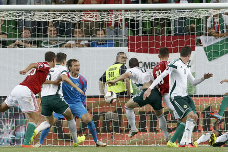 BUDAPEST, HUNGARY - SEPTEMBER 7, 2014: Northern Irish Roy Carroll (1) gets the only one Hungarian goal during Hungary vs. Northern Ireland UEFA Euro 2016 qualifier football match at Groupama Arena on September 7, 2014 in Budapest, Hungary.