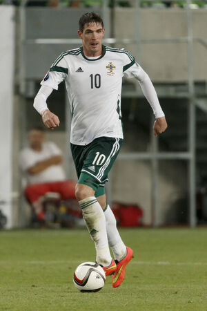 BUDAPEST, HUNGARY - SEPTEMBER 7, 2014: Northern Irish goal scorer Kyle Lafferty during Hungary vs. Northern Ireland UEFA Euro 2016 qualifier football match at Groupama Arena on September 7, 2014 in Budapest, Hungary.