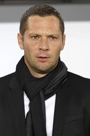 qualifier: BUDAPEST, HUNGARY - NOVEMBER 14, 2014: Hunagrian head coach Pal Dardai during Hungary vs. Finland UEFA Euro 2016 qualifier football match in Groupama Arena on November 14, 2014 in Budapest, Hungary.