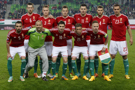 qualifier: BUDAPEST, HUNGARY - NOVEMBER 14, 2014: Hunagrian national team during Hungary vs. Finland UEFA Euro 2016 qualifier football match in Groupama Arena on November 14, 2014 in Budapest, Hungary.