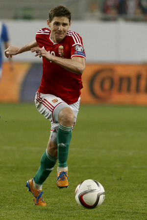 qualifier: BUDAPEST, HUNGARY - NOVEMBER 14, 2014: Hunagrian Zoltan Gera is with the ball during Hungary vs. Finland UEFA Euro 2016 qualifier football match in Groupama Arena on November 14, 2014 in Budapest, Hungary.