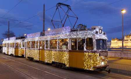 Light tram at Christmas in Budapest Editorial