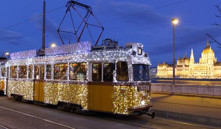 Light tram at Christmas in Budapest Editöryel