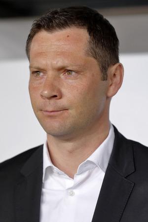 pal: BUDAPEST, HUNGARY - MARCH 29, 2015: Hungarian head coach, Pal Dardai during Hungary vs. Greece UEFA Euro 2016 qualifier football match in Groupama Arena. Editorial