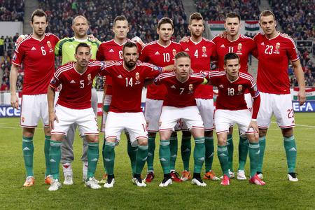 ブダペスト, ハンガリー - 2015 年 3 月 29 日: パマ アリーナでハンガリー対ギリシャ UEFA Euro 2016 予選サッカーの試合前にハンガリーの全国代表チーム 報道画像