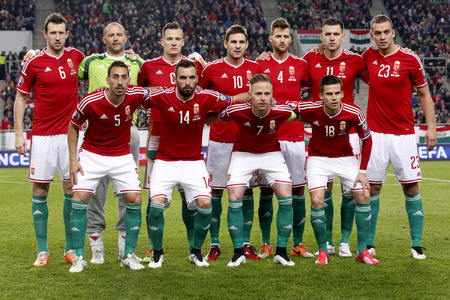 BUDAPEST, HUNGARY - MARCH 29, 2015: Hungarian national team before Hungary vs. Greece UEFA Euro 2016 qualifier football match in Groupama Arena. Upper row (from left to right): Akos Elek, Gabor Kiraly, Daniel Tozser, Zoltan Gera\, Tamas Kadar, Adam Szalai 報道画像