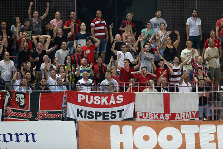 ultras: BUDAPEST, HUNGARY - JULY 18, 2015: The returning ultras celebrate the win of Honved during Honved vs. Videoton OTP Bank League football match in Bozsik Stadium.
