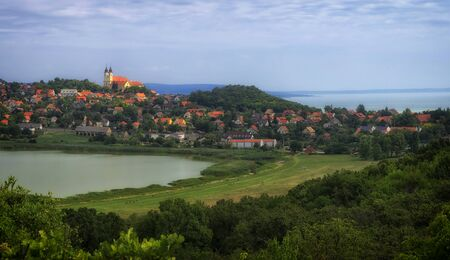 balaton: Tihany, the Inner Lake and the Balaton Stock Photo