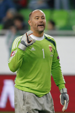 qualifier: BUDAPEST, HUNGARY - OCTOBER 8, 2015: Hungarian goalkeeper Gabor Kiraly during Hungary vs. Faroe Islands UEFA Euro 2016 qualifier football match in Groupama Arena. Editorial