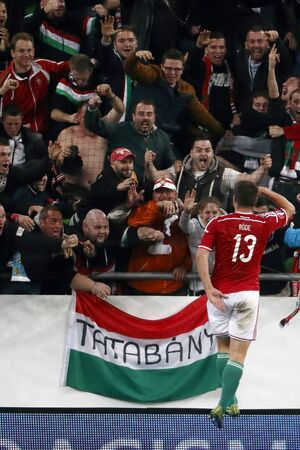 bode: BUDAPEST, HUNGARY - OCTOBER 8, 2015: Hungarian Daniel Bode (13) salutes for the fans after his second score during Hungary vs. Faroe Islands UEFA Euro 2016 qualifier football match in Groupama Arena.