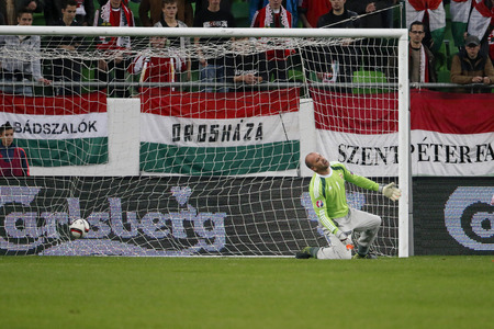 qualifier: BUDAPEST, HUNGARY - OCTOBER 8, 2015: The ball is in Hungarian Gabor Kiralys goal during Hungary vs. Faroe Islands UEFA Euro 2016 qualifier football match in Groupama Arena.