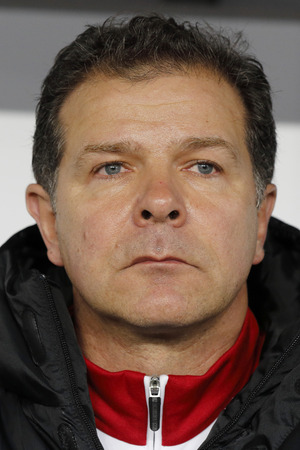 qualifier: BUDAPEST, HUNGARY - NOVEMBER 15, 2015: Hungarian co- coach, the German football legend Andreas Moller during Hungary vs. Norway UEFA Euro 2016 qualifier play-off football match at Groupama Arena.