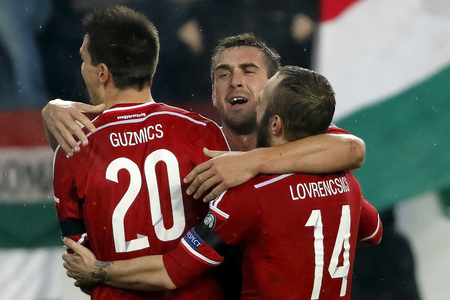 bode: BUDAPEST, HUNGARY - NOVEMBER 15, 2015: Hungarian Daniel Bode celebrates with his teammates the second goal during Hungary vs. Norway UEFA Euro 2016 qualifier play-off football match at Groupama Arena.